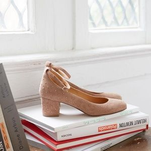 Sezane Ashley Babies in Nude Suede with Gold Studs